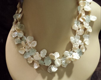 Keshi Pearl and Aquamarine top drilled rough slabs two strand necklace