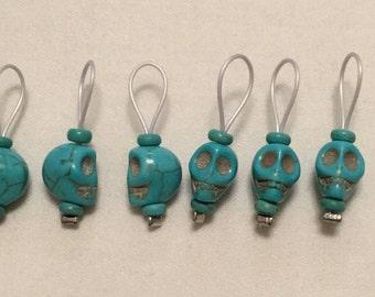 Blue Stone Skull Stitch Markers
