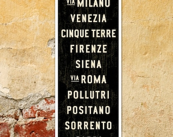 SMALL Italy Poster, Italy Subway Art, Bus Scroll, Italian Decor, Subway Sign, Italy Art, Tuscan Wall Decor, Word Art, Rustic Wall Art, 12x36
