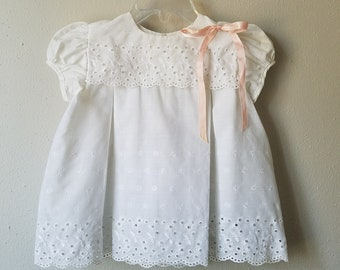 Vintage Girls White Eyelet Lace Dress with Pink Ribbon by C.I. Castro - Size 18 months- new, never worn- Easter Dress-