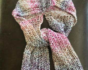 Knitted Lacy Hooded Scarf