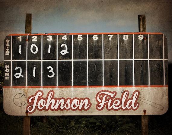 Vintage Baseball Scoreboard Photo Print Decorating Ideas