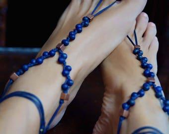 Lapis Lazuli Barefoot Sandals, Gemstone Barefoot Sandals, Blue Barefoot Sandals, 1 Pair