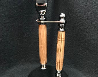 Mach3 razor and stand with Zebrawood and Gun Metal