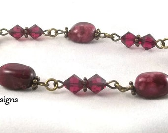 Pink Crazy Lace Agate Gemstone Station Bracelet with Swarovski Ruby Crystals