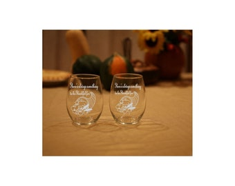 4 Thanksgiving Wine Glasses, Fall Wine Glasses, Autumn Wine Glasses, Etched Wine Glasses, Fall Decor Wine Glasses, Set of 4