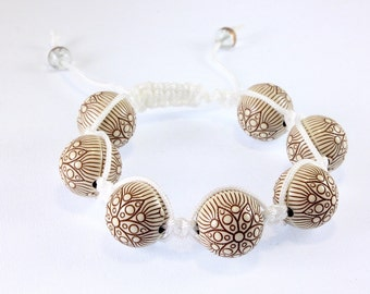 Carved Faux Ivory Macrame Bracelet, Acrylic Ivory, Carved Beads