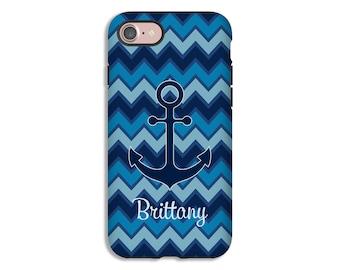 Personalized iPhone 7 case, anchor iPhone 7 Plus case, chevron iPhone 8 case, nautical iPhone 8 Plus case, iPhone X case, iPhone 6/6s Plus