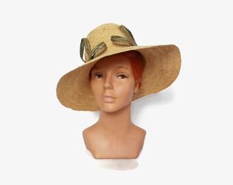 Vintage 60s Straw Sun HAT / 1960s 2-Tone Floppy Wide Brim Woven Straw Hat