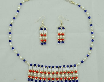 Red White and Blue Necklace Set