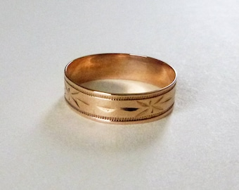 Victorian cigar band engraved eternity wedding band ring rosy yellow gold size 6