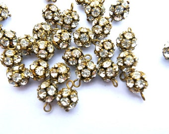 2 Vintage Swarovski dangling BEADS 8mm ball shape clear crystals in brass setting