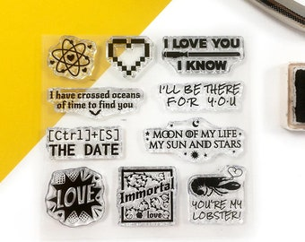Funny Geeky Love clear stamps for planners, clear stamp set, love stamps, geeky wedding decor ideas, DIY wedding favor tags, Love you stamps