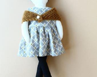 Fabric doll - number 12 - grey retro pattern dress, camel shawl