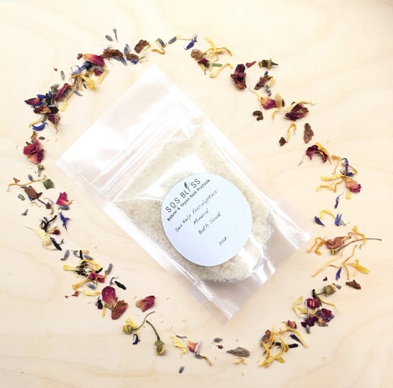 Sea Kelp Eucalyptus 2oz. Vegan Spa Salts Dead Sea Salt European Bath Salts Natural Moisturizer Essential Oil Luxury Spa Mineral Bath Soak