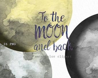 Moon Phases. Watercolor clip art. Hand drawn. Lunar chart. Yellow moon.