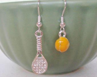 Earrings Tennis sterling silver tennis racket yellow ball sports coach instructor match gift enamel ball team girls kids tween teen