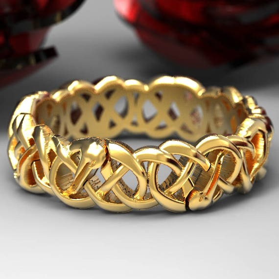 Gold Celtic Crane Ring, Bird Wedding Band, Irish Wedding, Crane Jewelry, Celtic Knot Ring 10K 14K 18K Palladium or Platinum Custom Size 1152