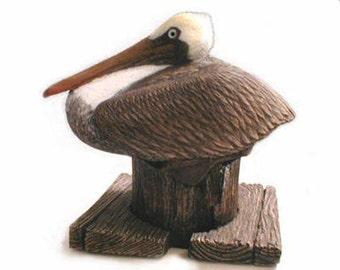 Brown PELICAN sculpture wildlife bird seashore art sculpture