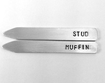 10 year anniversary gift aluminum, Stud Muffin - Collar Stay Set - Metal Hand Stamped Custom Initials, gift for husband, men's accessory
