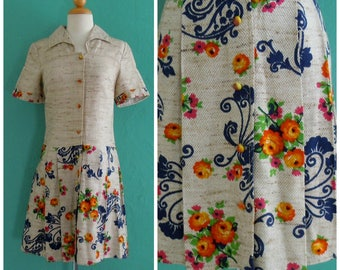 vintage floral print spring dress // pleated drop waist dress