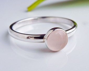 Rose quartz Stacking ring in Sterling Silver