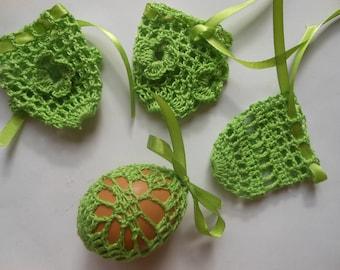 Crochet Easter Egg Cover, Set of 4 Hand Crocheted Easter Eggs Easter Decoration Green