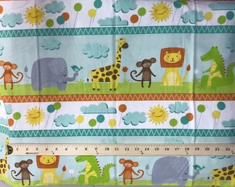 Jungle Jubilee, Wilmington Prints, Flannel Fabric, Animal Print Fabric, Border Print Print