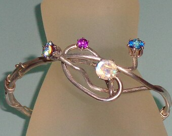 Sterling Silver 4 Gem Twisted Vines Fall Bracelet Moonstone Topaz Amethyst