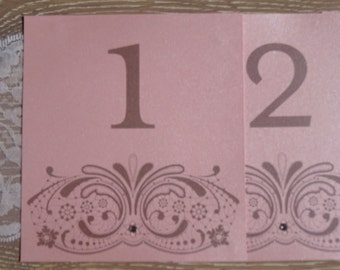 Delicate printed lace design Wedding Table Numbers/Names