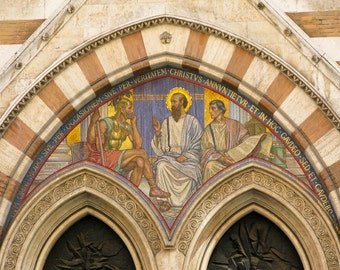Rome Photo - Mosaic Majesty - Fine art photography - Historic scene - Christ and soldier - Church architecture - terracotta, ivory, gold