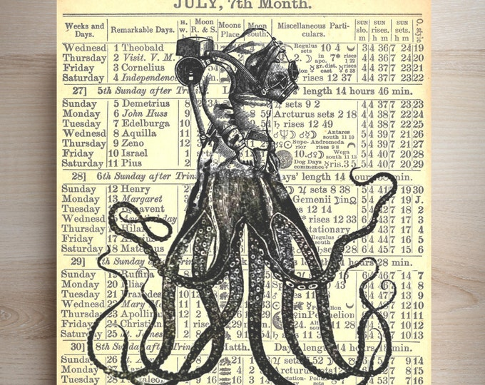 OctoDiver Vintage collage kraken octopus illustration nautical beach diver decor art print custom choice background antique page ODP837