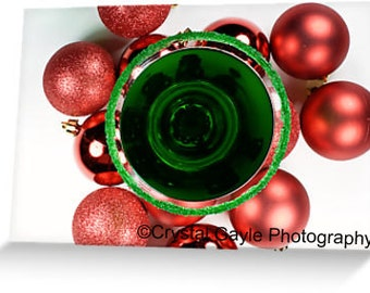 """Christmas Cards, Holiday Cocktail Greeting, Tree Ornament, Red, Green, White, 4.25""""x5.5"""" or 5""""x7"""", Modern, Folded, For the Boss, Festive"""