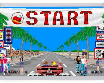 Outrun Arcade Fridge Magnet (Start Line)