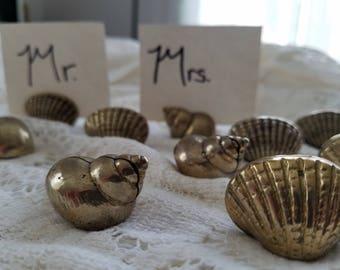 Shell figurines, Brass card holders, Wedding place setting, beach wedding decor, shell table setting, set of ten