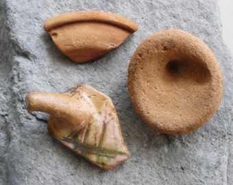 Beach Pottery Big Terracotta pieces of pots 3 pieces of sea tumbled Pottery lot 3