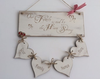 Tied By The Heart Strings - PERSONALISED FAMILY PLAQUE