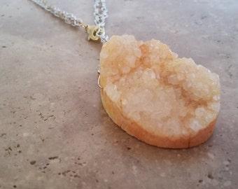 Orange Creamsicle Druzy Agate Necklace