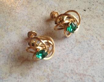 Swirling Orbs Green Gold Filled Earrings by HG