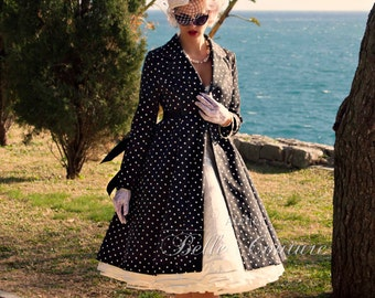 """Custom made & Handmade-coat """"Tiffany"""" in the 1950s style anthracite/dotted"""