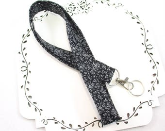 Black Lanyard, Floral ID Badge Holder, Custom Length, Fabric ID Holder, Girly Badge Holder Lanyard, Co-worker Gift, Gift Under 10