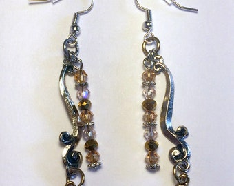 Silver and Brown Crystal Dangle Earrings