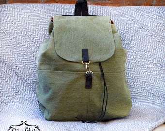 Handmade Cotton Backpack, Summer Bag, Lightweight