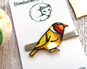 Bird Tie Slide, Goldfinch Tie Clip, Father Birthday, Bird Watcher, Animal Gifts for Him, Wedding Gift for Him, Husband Anniversary, Brother