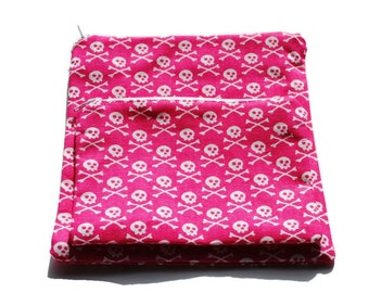 Reusable Sandwich and Snack Bags Set of 2 Pink White Skulls Cotton Twill Zipper