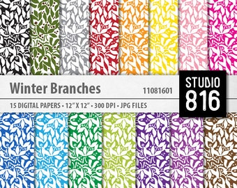 Winter Branches Pattern - Digital Paper for Scrapbooking, Cardmaking, Papercrafts, Gift Wrap #11081601
