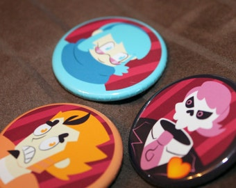 """Mystery Skulls Ghost  - 1.5 """" Inch Button Set of 3"""