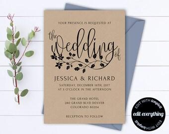 Rustic Wedding Invitation Template - Kraft Wedding Invitation - Instant Download Printable Invitation - Rustic Invitation Wedding Template