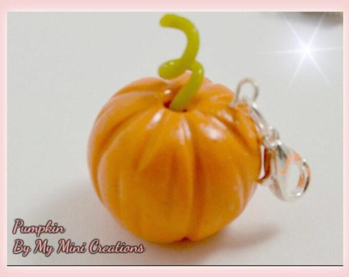 Pumpkin Charm, Polymer Clay, Miniature Food, Miniature Food Jewelry