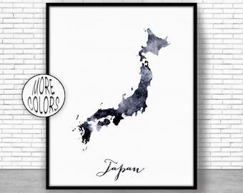 Japan Print Japan Art Print Watercolor Print Japan Map Decor Wall Art Prints ArtPrintZone
